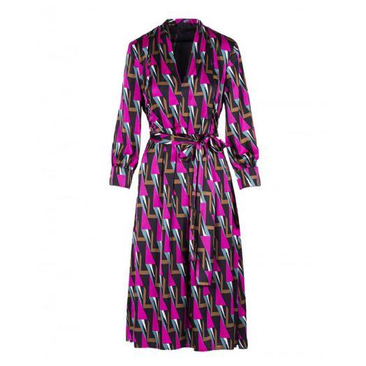 Anonyme | Dominiga Midi Dress - Oblique Fuchsia Print