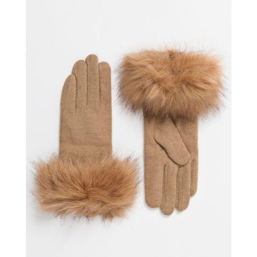 Pia Rossini | Monroe Wool Faux Fur Gloves - Caramel
