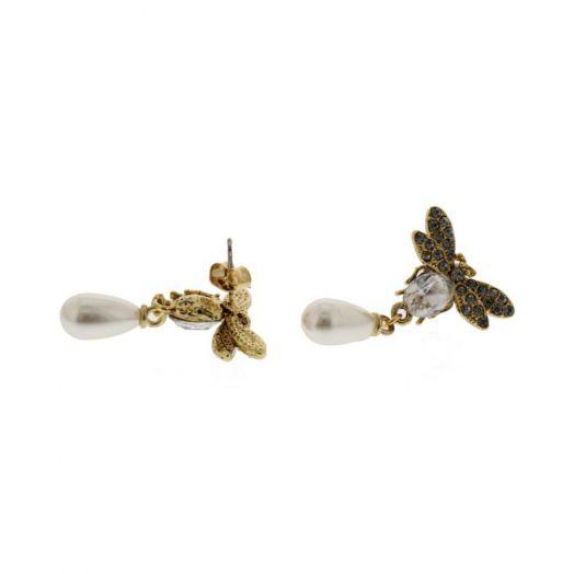 Nour London | Bee and Pearl Drop Earrings