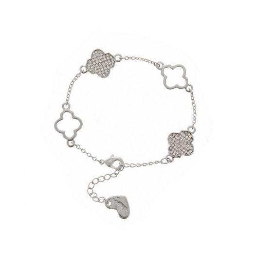 Nour London | Silver Clear Clover Bracelet
