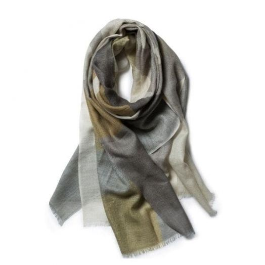 Galway Crystal | Olive And Stone Merino Wool Scarf