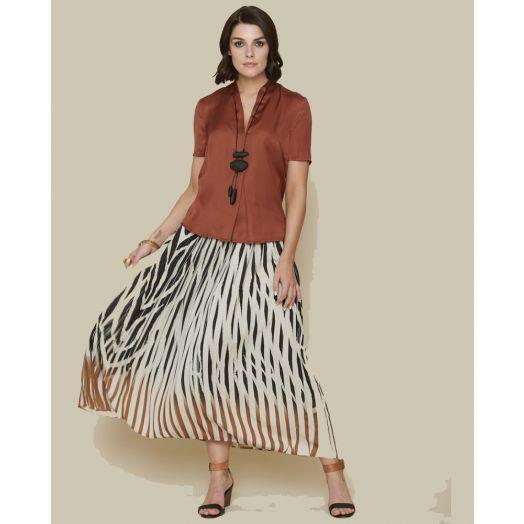 Peruzzi|Pleat Print Skirt |Black/Cream