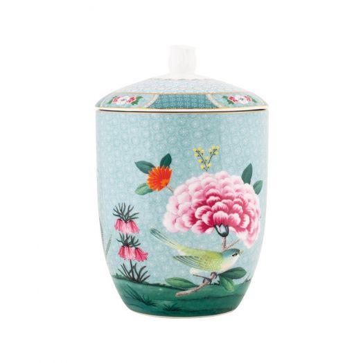 Product shot of Pip Studio Amsterdam's Blushing Birds storage jar in blue