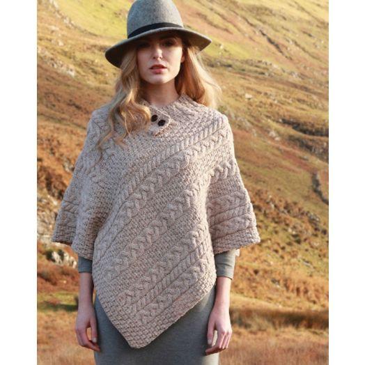 Aran Woollen Mills | 100% Merino Wool Button Poncho | Wicker A200