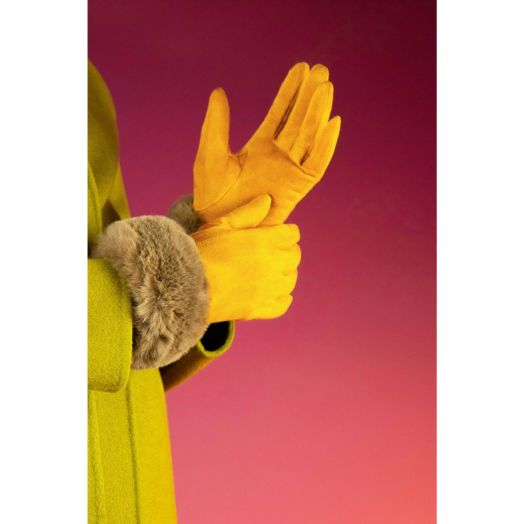 Powder   Bettina Faux Suede Gloves in Mustard