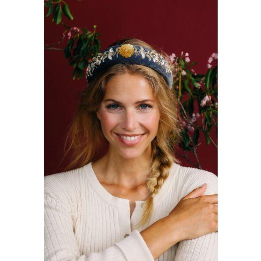 Powder | Padded Velvet Beaded Headband in Charcoal