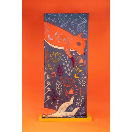 Powder | Scandi Fox and Hare Print Scarf in Denim