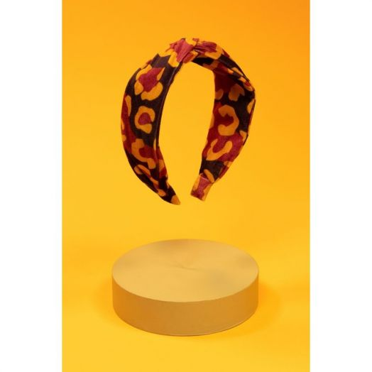 Powder   Printed Velvet Leopard Headband in Damson/Mustard