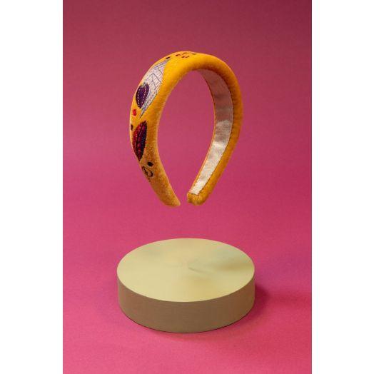 Powder | Padded Velvet Floral Headband in Mustard
