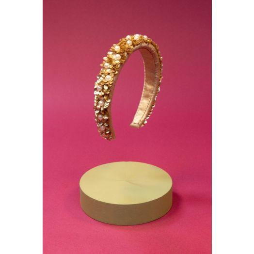 Powder | Padded Velvet Pearl Headband in Champagne