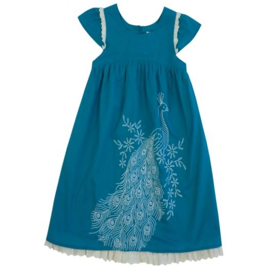 Powell Craft | Peacock Embroidered Dress-Turquoise