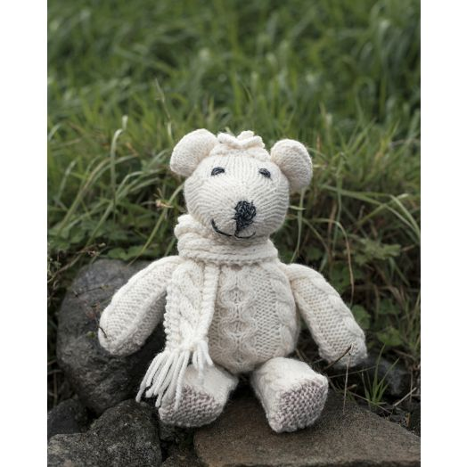 Aran Woollen Mills | Handknit Teddy Bear With Scarf-  Natural