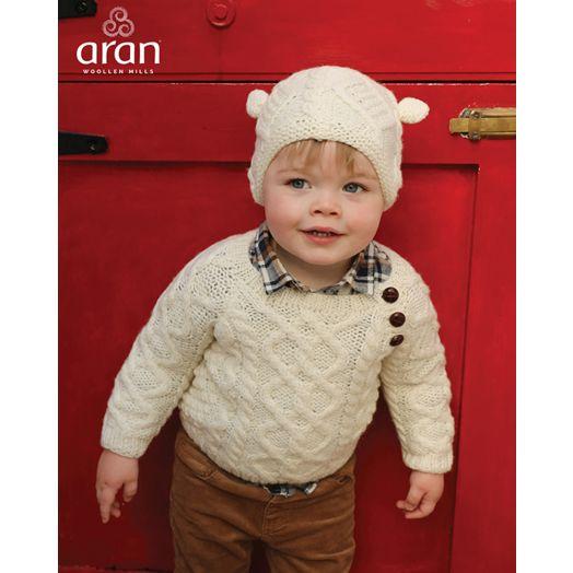 Aran Woollen Mills | Handknit Children's Hat With Ears | R490 - Natural