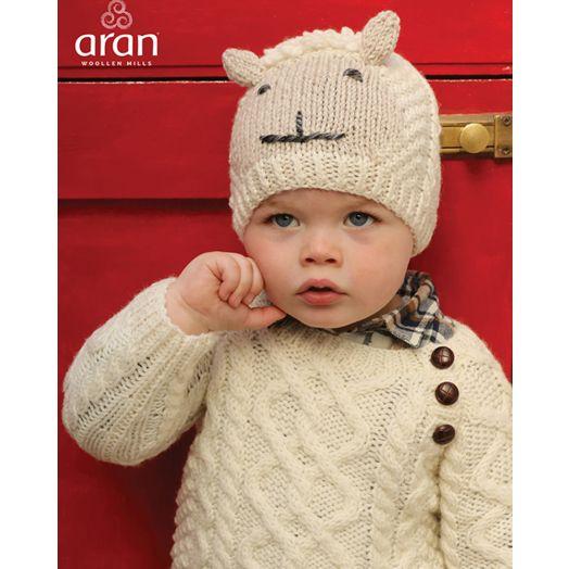 Aran Woollen Mills | Baby Handknit Sheep Hat | R780 - Natural/Oat