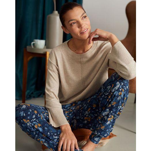 Thought | Atkins Printed Dashka Bamboo Jersey Loungepants - Majolica Blue