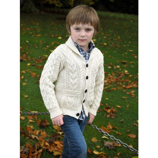 West End Knitwear | Aran Shawl Collar Button Cardigan SH4561- Natural