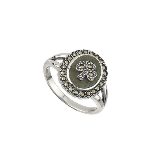 Connemara Marble Marcasite Shamrock Ring
