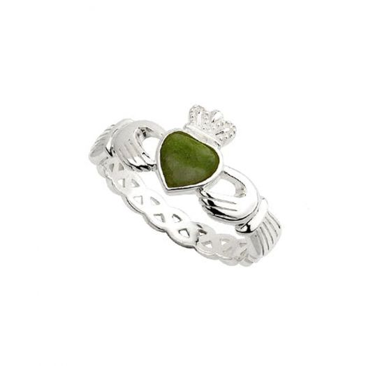 Women's Sterling Silver Connemara Marble Claddagh Ring