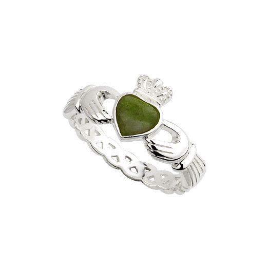 Ladies Sterling Silver Connemara Marble Claddagh Ring