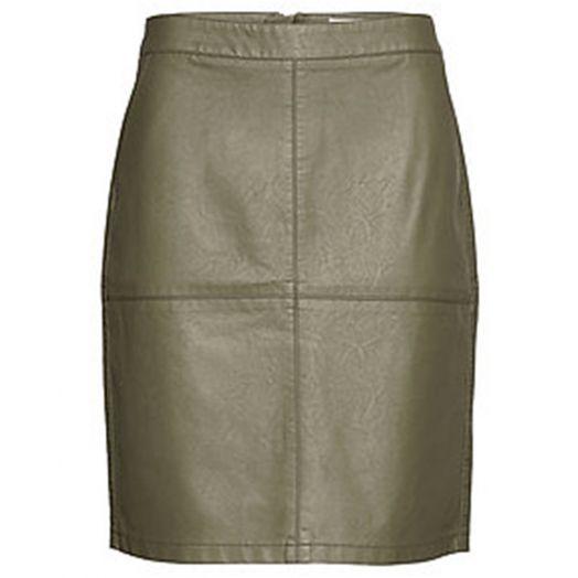 Soya Concept | Gunilla Pleather Skirt - Dark Khaki