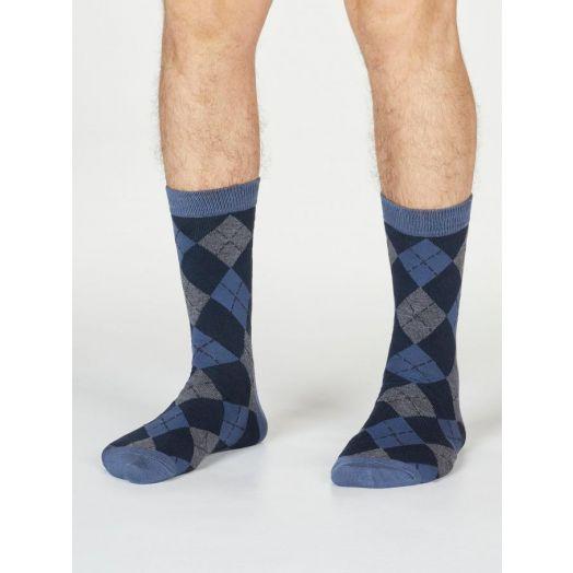 Thought | Men's Philip Argyll Socks - Blue Slate