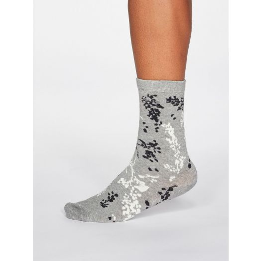 Thought |Women's Orpha Floral Socks - Grey Marle