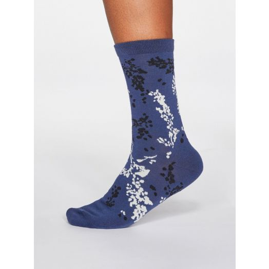 Thought | Women's Orpha Floral Socks - Mineral Blue