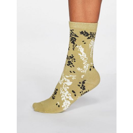 Thought | Women's Orpha Floral Socks - Pear Green