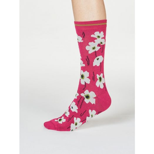 Thought | Women's Peggie Floral Socks - Magenta Pink