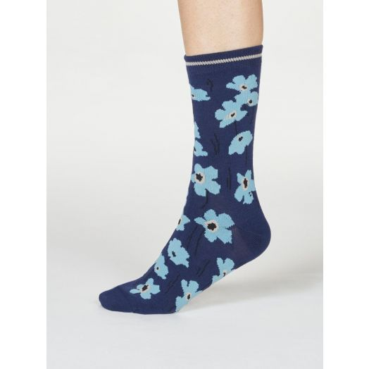 Thought | Women's Peggie Floral Socks - Navy