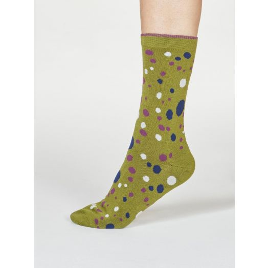 Thought | Women's Lucille Spot Socks - Olive Green