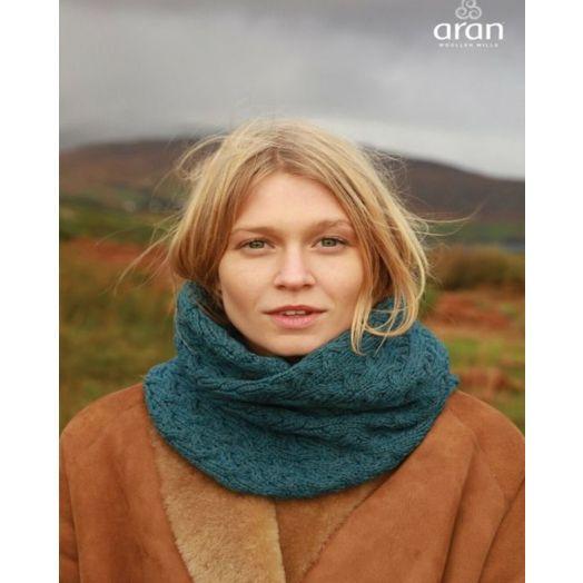 Aran Woollen Mills | Super Soft Infinity Cable Scarf | B859 - Irish Sea Blue