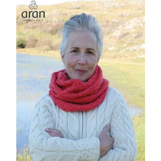 Aran Woollen Mills | Super Soft Infinity Cable Scarf | B859 - Coral