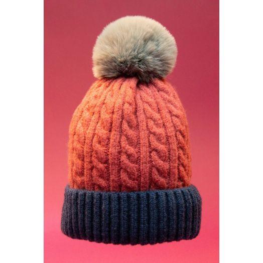 Powder | Greta Bobble Hat in Rose/Navy