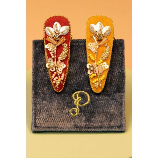 Powder   Jewelled Hairclips Pack of 2 in Coral