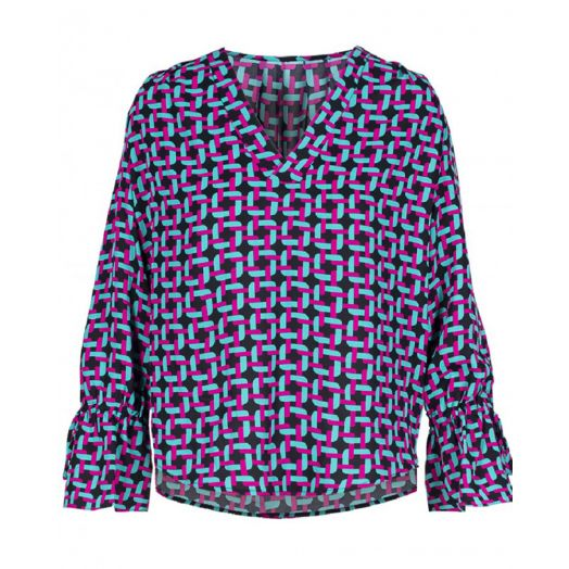 Anonyme | Tide Braid Print Blouse- Azure Pink
