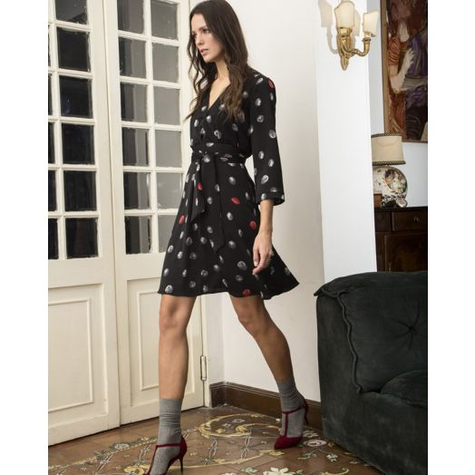 Anonyme | Dorothy Midi Moon Print Dress- Black