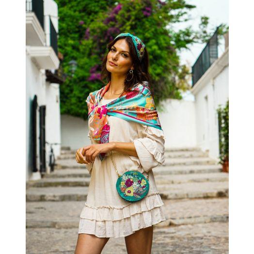 Powder | Velvet Modern Floral Embroidered Bag in Turquoise