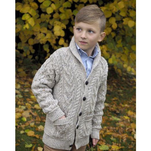 West End   Boys' Aran Shawl Button Cardigan with Pockets