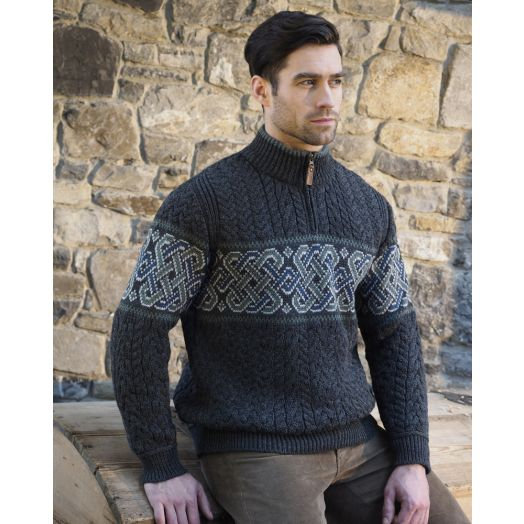 Aran Celtic Jacquard Half-Zip Sweater