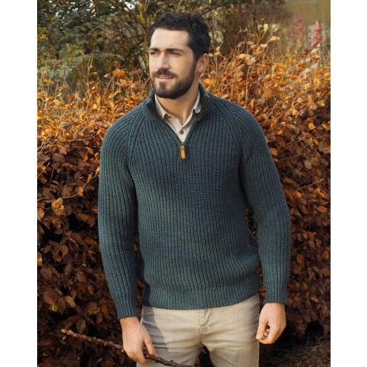 100% Merino Wool Fisherman Ribbed Sweater