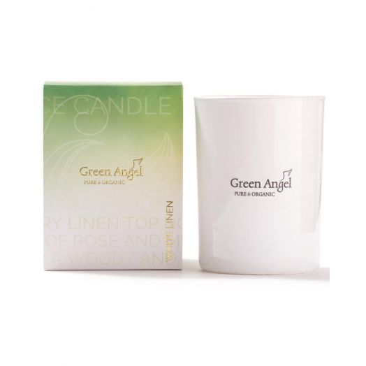 Green Angel | White Linen Candle