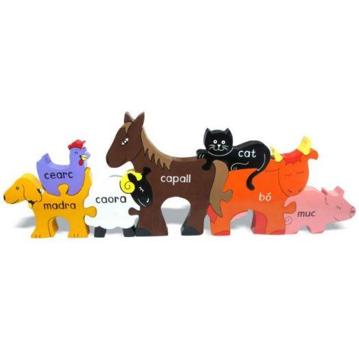 Alphabet Jigsaws   Farm Animals in Irish Jigsaw Puzzle