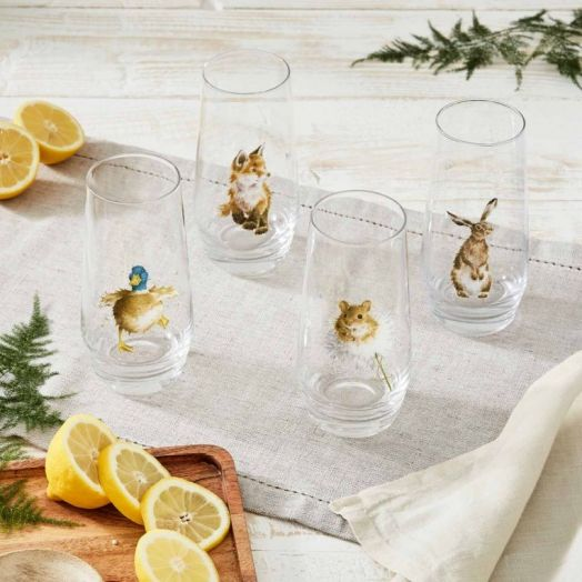 Wrendale | Assorted Country Animals Hi-Ball Glasses - Set of 4
