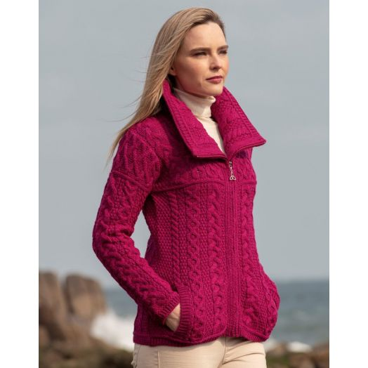 West End Knitwear | Double Collar Zip Cardigan X4267- Raspberry