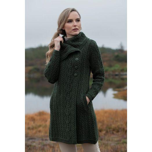 West End Knitwear | Chunky Collar Cardigan X4416- Army Green
