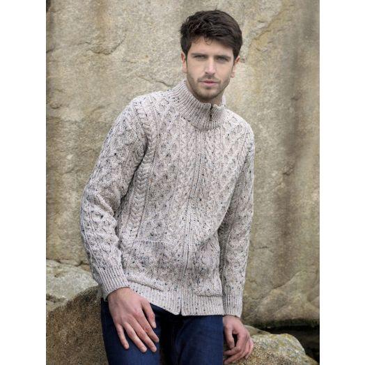 West End Knitwear | Men's Full Zip Cardigan XP3016- Oatmeal