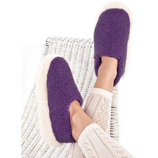 Sheep By The Sea   100% Merino Wool Slippers   Purple
