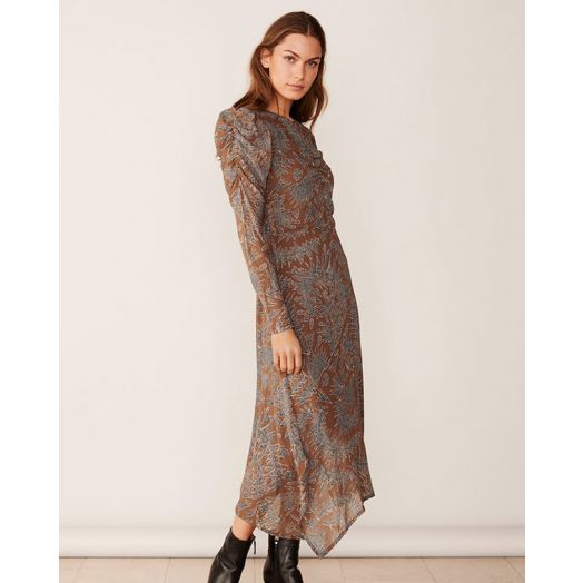 Part Two | Esja Occasion Midi Print Dress- Hazel Brown
