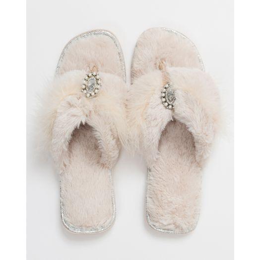 Pia Rossini | Zoe Faux Fur Slippers - Almond